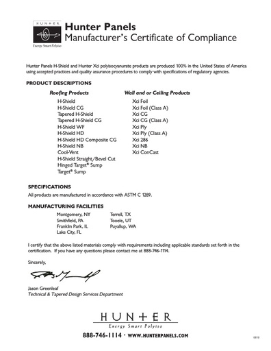 Made in the USA Certification Letter