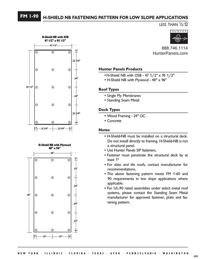 "FM I-90: Fastening Pattern for Low Slope Applications 24"" OC"