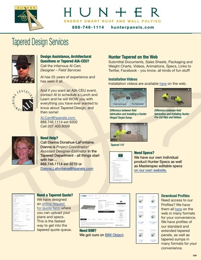 Hunter Tapered Services Sheet