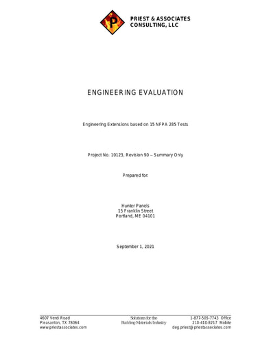 Engineering Extensions based on NFPA 285 Tests - V77