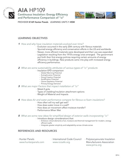 AIA HP109 Learning Objectives