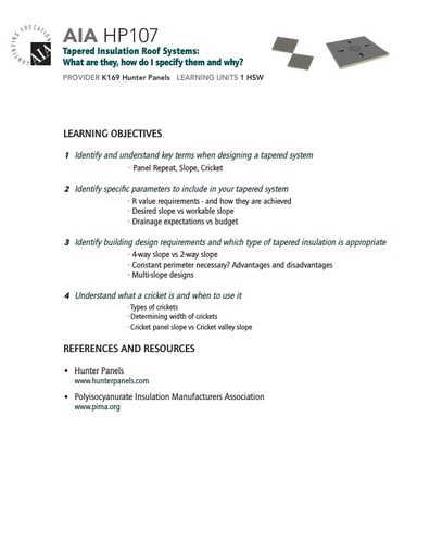 AIA HP107 Learning Objectives