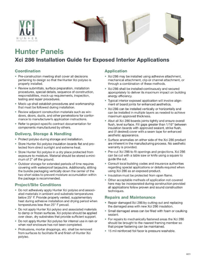Xci 286 Installation Instructions for Exposed Interior Applications