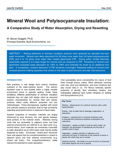 Mineral Wool and Polyisocyanurate Insulation: A Comparative Study of Water Absorption, Drying and Rewetting