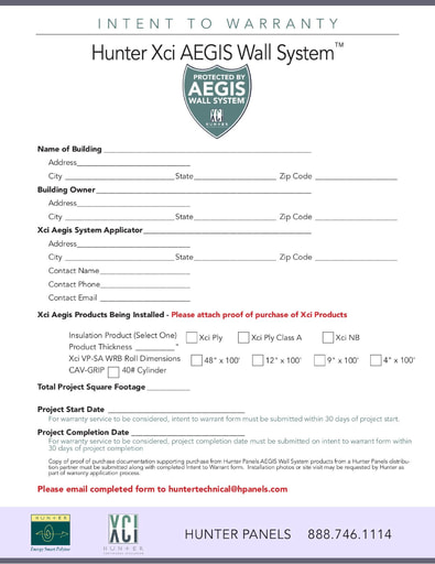 Aegis Warranty Form