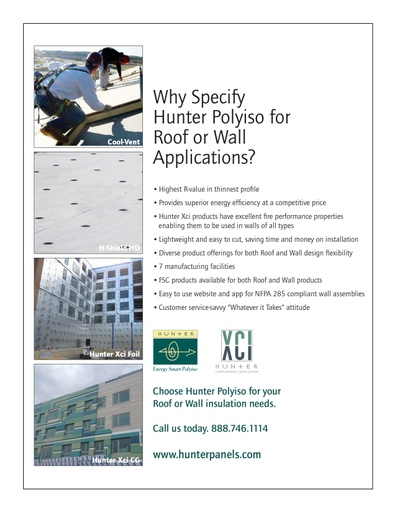 Why Specify  Hunter Polyiso for  Roof or Wall  Applications?