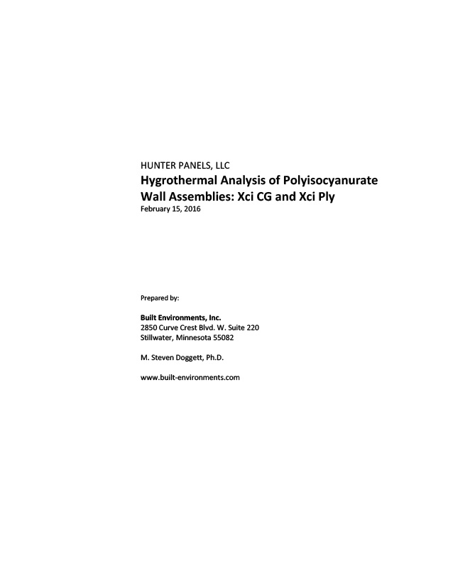 Hygrothermal Analysis of Polyisocyanurate Wall Assemblies: Xci CG and Xci Ply